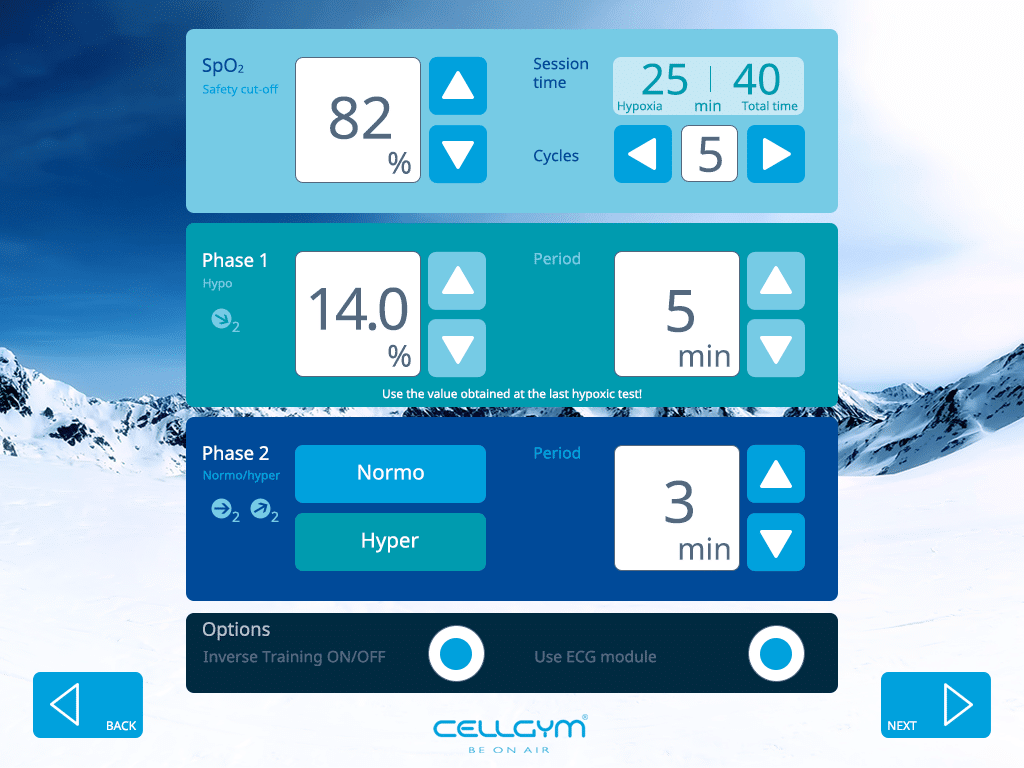 Cellgym CellAir One 2.0 nitial Settings Manual Mode 1024x768 V1n3